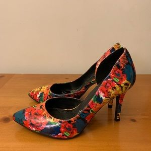Multicolored Floral Heels